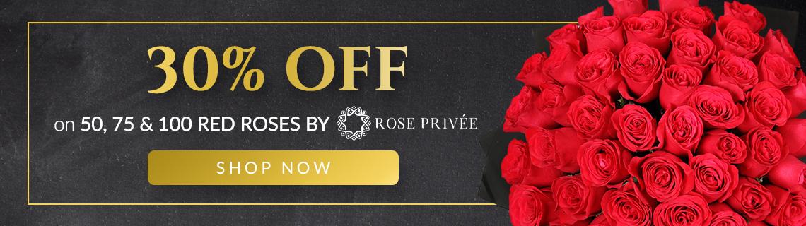 Rose Privee (50 Red Roses) - 30% OFF