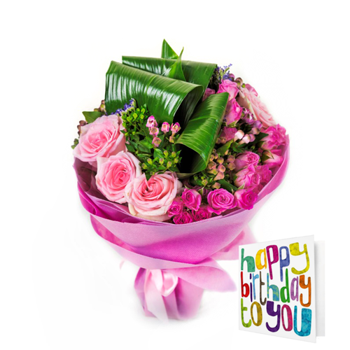 Cobone Pink By 800Flower With Happy Birthday Card