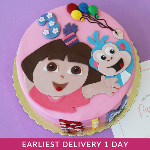 Groovy Dora Themed Cake Buy Cakes In Dubai Uae Gifts Funny Birthday Cards Online Alyptdamsfinfo