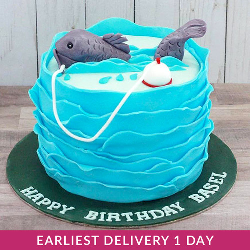 Tremendous Fishing Themed Cake Buy Cakes In Dubai Uae Gifts Funny Birthday Cards Online Alyptdamsfinfo