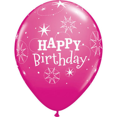 Happy Birthday Rubber Balloon Pink