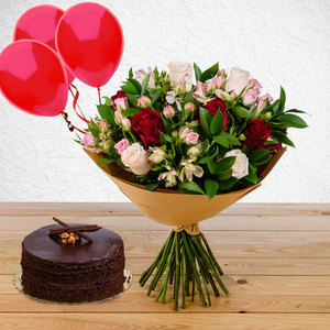Benevolence Package with (Chocolate Hazelnut cake & 3 Balloons) | Buy Packages / Bundles in Dubai UAE | Gifts