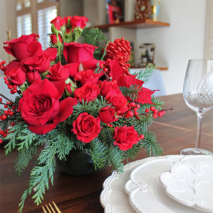 Red Christmas Flower Arrangement | Buy Christmas Flower Collection in Dubai UAE | Gifts