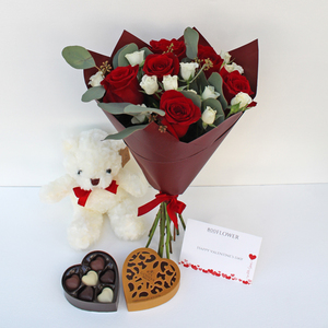 True Love Bouquet with Teddy and Chocolates | Buy Flowers in Dubai UAE | Gifts