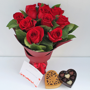12 Romantic Red Roses Package with Chocolates | Buy Flowers in Dubai UAE | Gifts