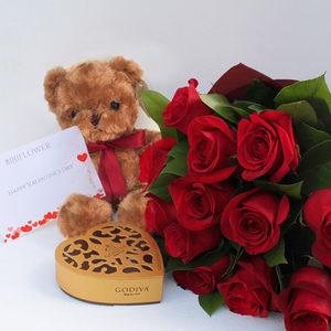 12 Romantic Red Roses Package with Teddy and Chocolates | Buy Flowers in Dubai UAE | Gifts