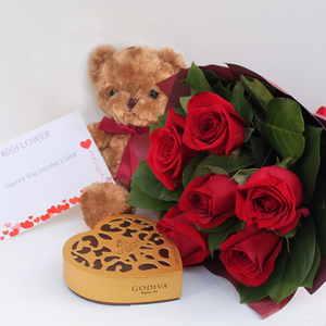 Forever Yours Package with Chocolates + Teddy Red Rose Bouquet | Buy Flowers in Dubai UAE | Gifts