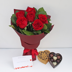 Forever Yours with Chocolates Red Rose Bouquet | Buy Flowers in Dubai UAE | Gifts