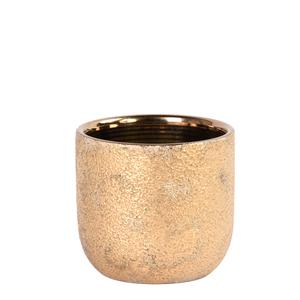 Ceramic Vase Small Brown Gold