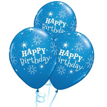 Happy Birthday Rubber Balloon Bunch - Dark Blue | Buy Balloons in Dubai UAE | Gifts
