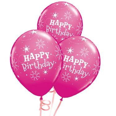 Happy Birthday Rubber Balloon Bunch - Dark Pink | Buy Balloons in Dubai UAE | Gifts