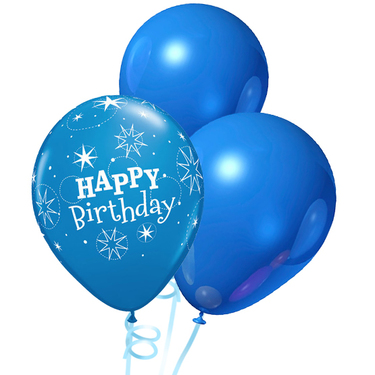 Happy Birthday Rubber Balloon Bunch - Mix Dark Blue | Buy Balloons in Dubai UAE | Gifts