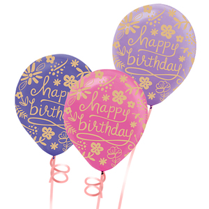 Happy Birthday Floral Design Balloon Bunch   Buy Balloons in Dubai UAE   Gifts
