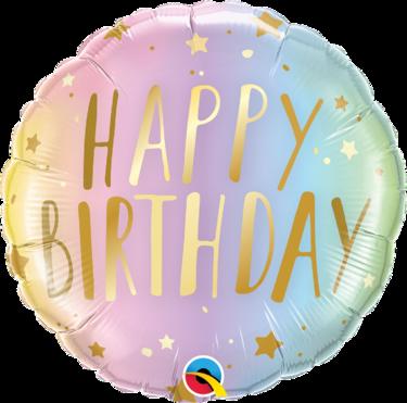 Happy Birthday Pastel Ombre & Stars Foil Balloon   Buy Balloons in Dubai UAE   Gifts