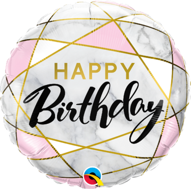 Happy Birthday Marble Rectangles Foil Balloon   Buy Balloons in Dubai UAE   Gifts