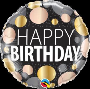 Happy Birthday Big Metallic Dots Foil Balloon   Buy Balloons in Dubai UAE   Gifts