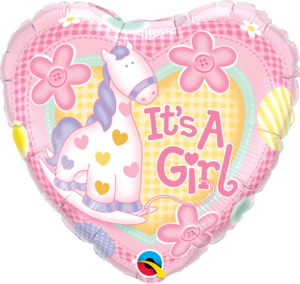 It's A Girl Soft Pony Round Foil Balloon | Buy Balloons in Dubai UAE | Gifts