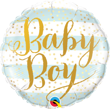 Baby Boy Blue Stripes Round Foil Balloon | Buy Balloons in Dubai UAE | Gifts