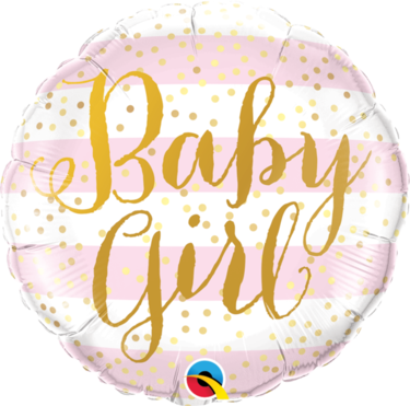 Baby Girl Pink Stripes Round Foil Balloon | Buy Balloons in Dubai UAE | Gifts
