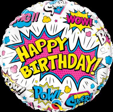 Birthday Super Hero White Foil Balloon   Buy Balloons in Dubai UAE   Gifts