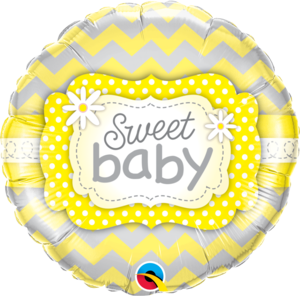 Beautiful Baby with Yellow Prints Foil Balloon | Buy Balloons in Dubai UAE | Gifts