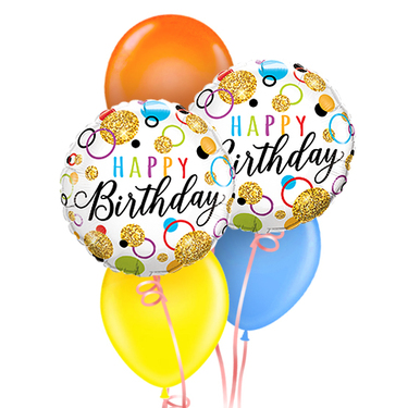 Happy Birthday Balloon Glitter Dots Package | Buy Balloons in Dubai UAE | Gifts