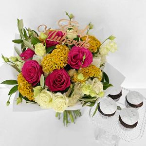 Summer Eid Bouquet with Cupcakes   Buy Flowers in Dubai UAE   Flower Bouquet