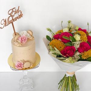 Summer Eid Bouquet with Cake   Buy Flowers in Dubai UAE   Flower Bouquet