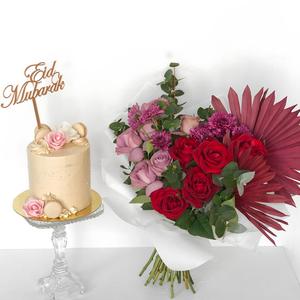 Moulin Rouge Bouquet with Cake   Buy Flowers in Dubai UAE   Flower Bouquet