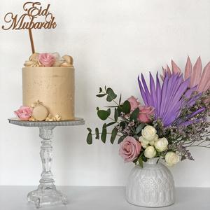 Eid Violet Arrangement with Cake   Buy Flowers in Dubai UAE   Flower Bouquet