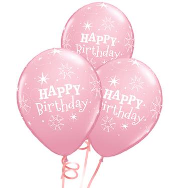 Happy Birthday Rubber Balloon Bunch - Light Pink   Buy Balloons in Dubai UAE   Gifts